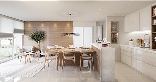 Mẫu thiết kế nội thất phòng ăn kết hợp phòng bếp