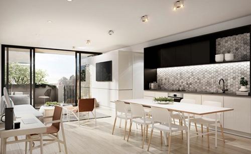 Giải pháp thiết kế phòng khách liên thông với phòng bếp