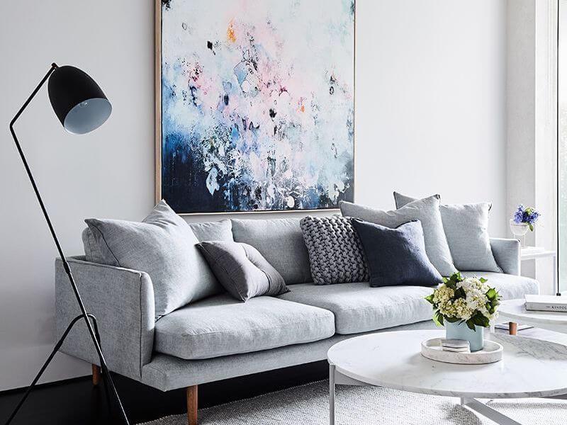 Áp dụng quy tắc ba vào thiết kế phòng khách