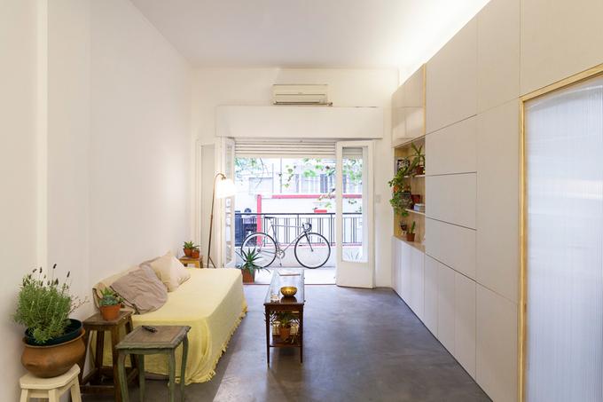 Căn hộ 60m2 thiết kế nội thất tủ âm tường