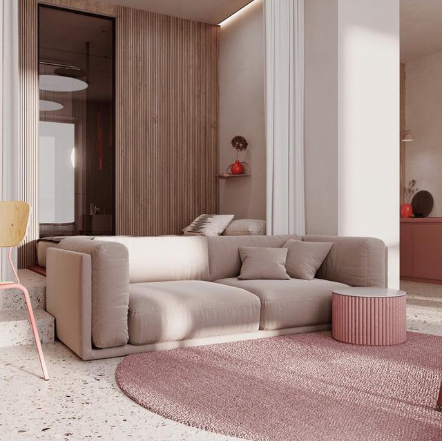 Mẫu căn hộ đẹp dùng gam màu hồng đơn sắc làm chủ đạo