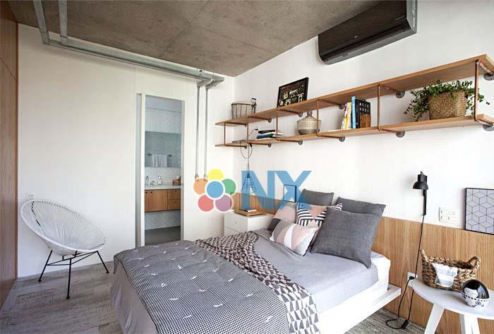 Mẫu căn hộ Studio được trang trí bằng màn gỗ độc đáo