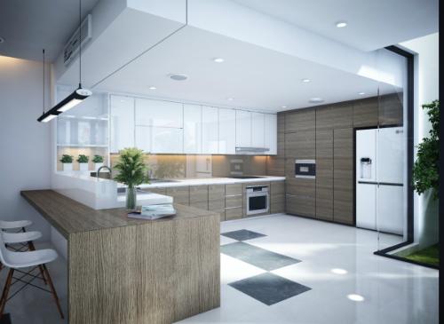 Mẫu nhà bếp hiện đại tràn ngập ánh sáng