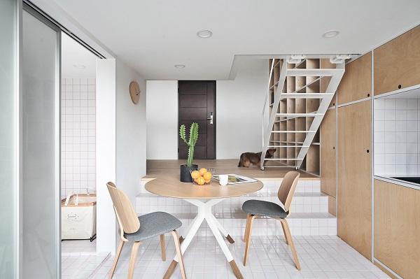Thiết kế căn hộ chung cư đẹp kết hợp gỗ với gạch men